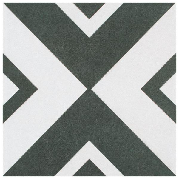 Twenties Vertex Encaustic 7-3/4 in. x 7-3/4 in. Ceramic Floor and Wall Tile