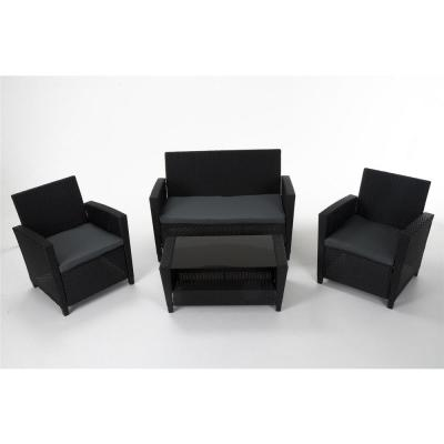 Black 4-Piece Resin Wicker Outdoor Patio Deep Seating Conversation Set with Gray Cushions