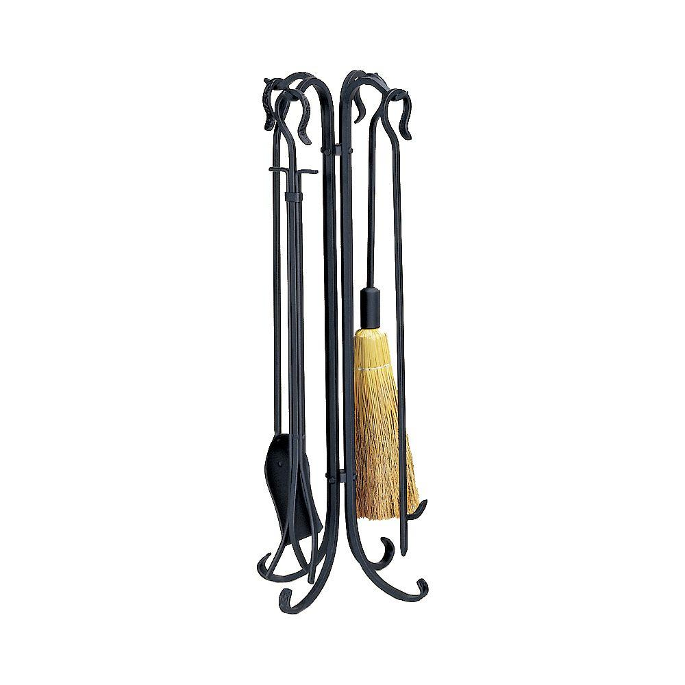 The UniFlame 5-Piece Black Fireset with Crook Handles and Tampico Brush adds additional charm to your fireplace. It includes a tampico fire-retardant brush