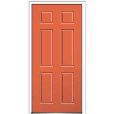 36 in. x 80 in. 6-Panel Right-Hand Inswing Classic Painted Fiberglass Smooth Prehung Front Door