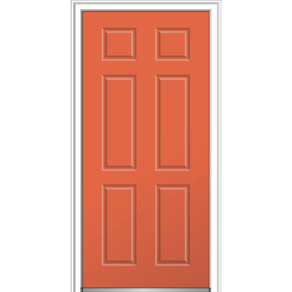 32 in. x 80 in. 6-Panel Left-Hand Inswing Classic Painted  sc 1 st  The Home Depot & Single Door - Steel Doors - Front Doors - The Home Depot pezcame.com