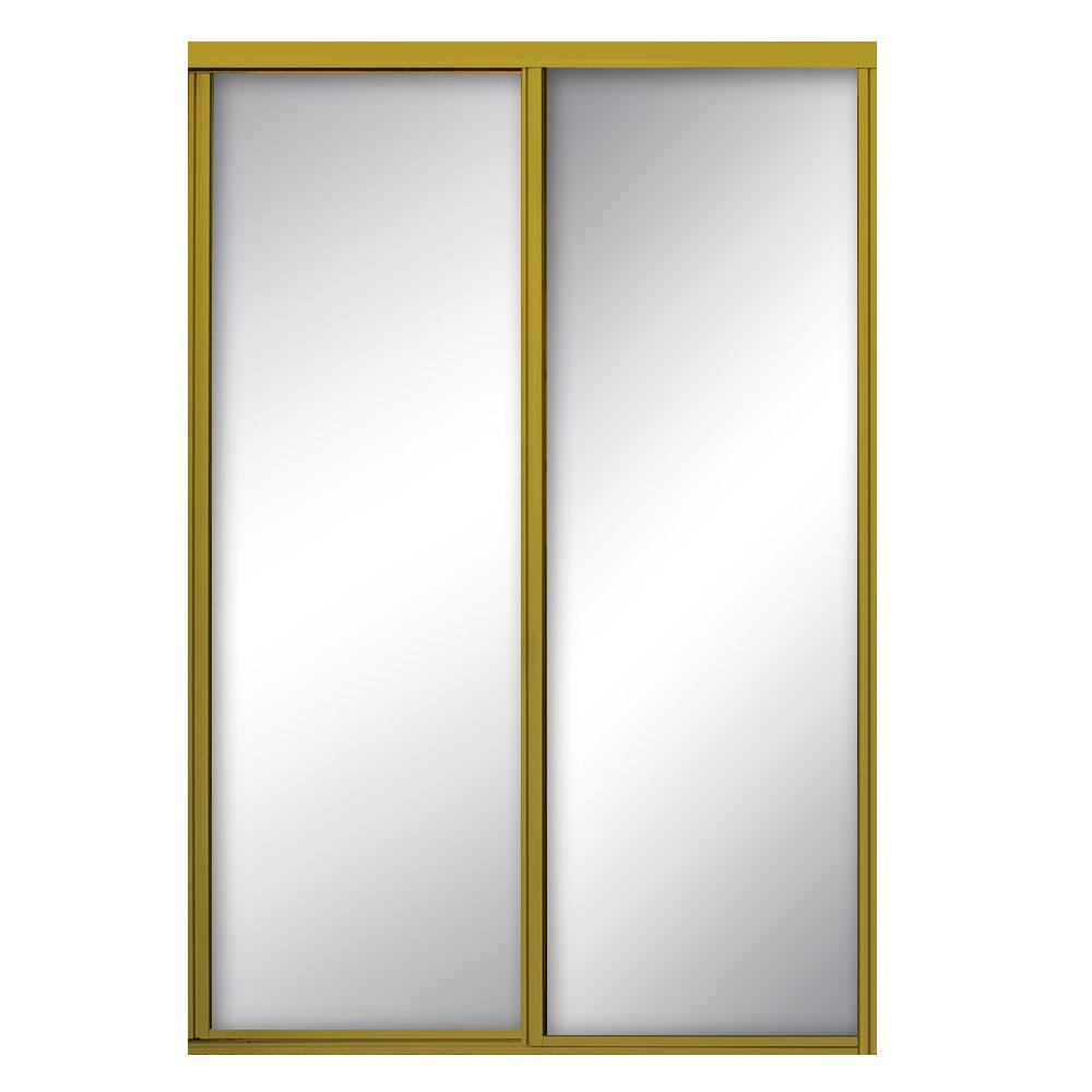 Contractors Wardrobe 60 in. x 81 in. Concord Satin Gold Aluminum Framed Mirrored Sliding Door