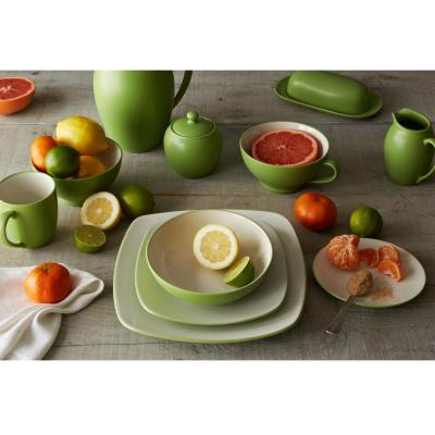 Colorwave Coupe 4-Piece Casual Apple Stoneware Dinnerware Set (Service for 1)
