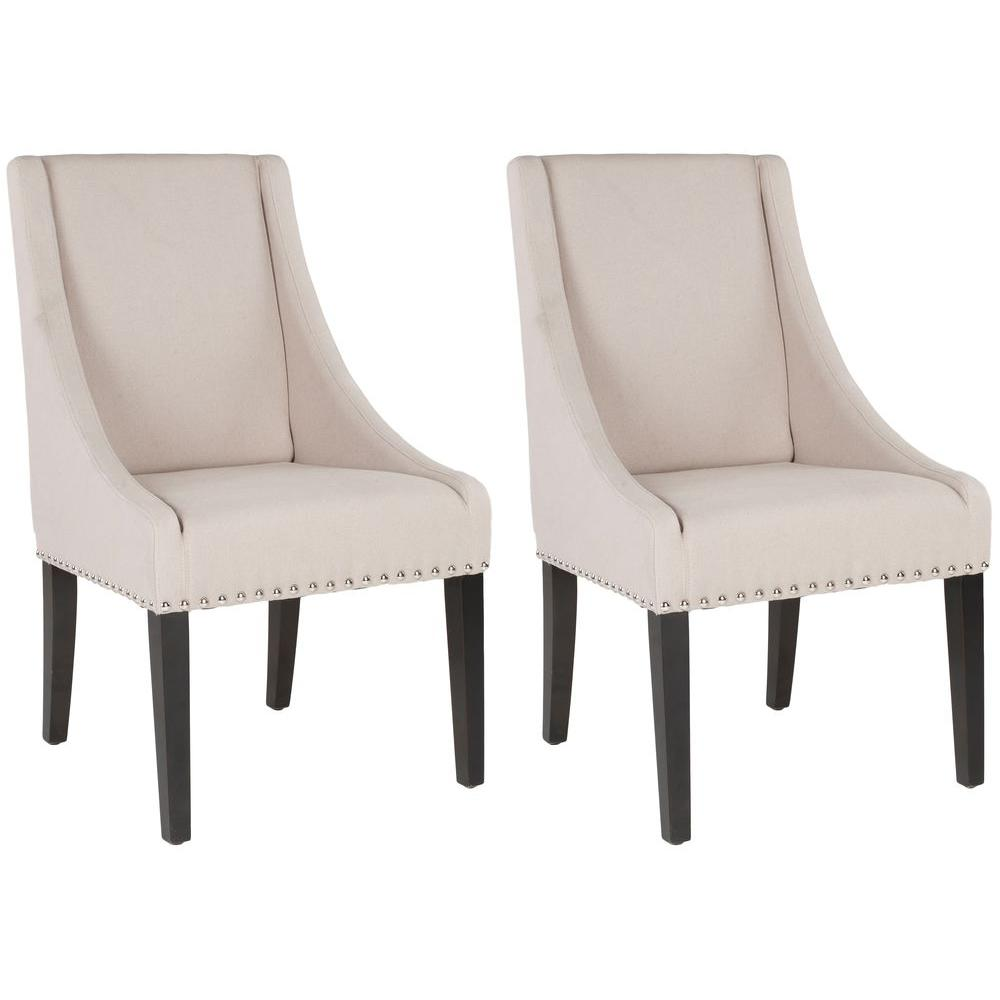 Britannia Taupe/Espresso Linen Side Chair (Set of 2)