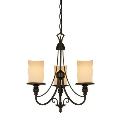 3-Light Burnished Bronze Patina Interior Chandelier with Burnt Scavo Glass