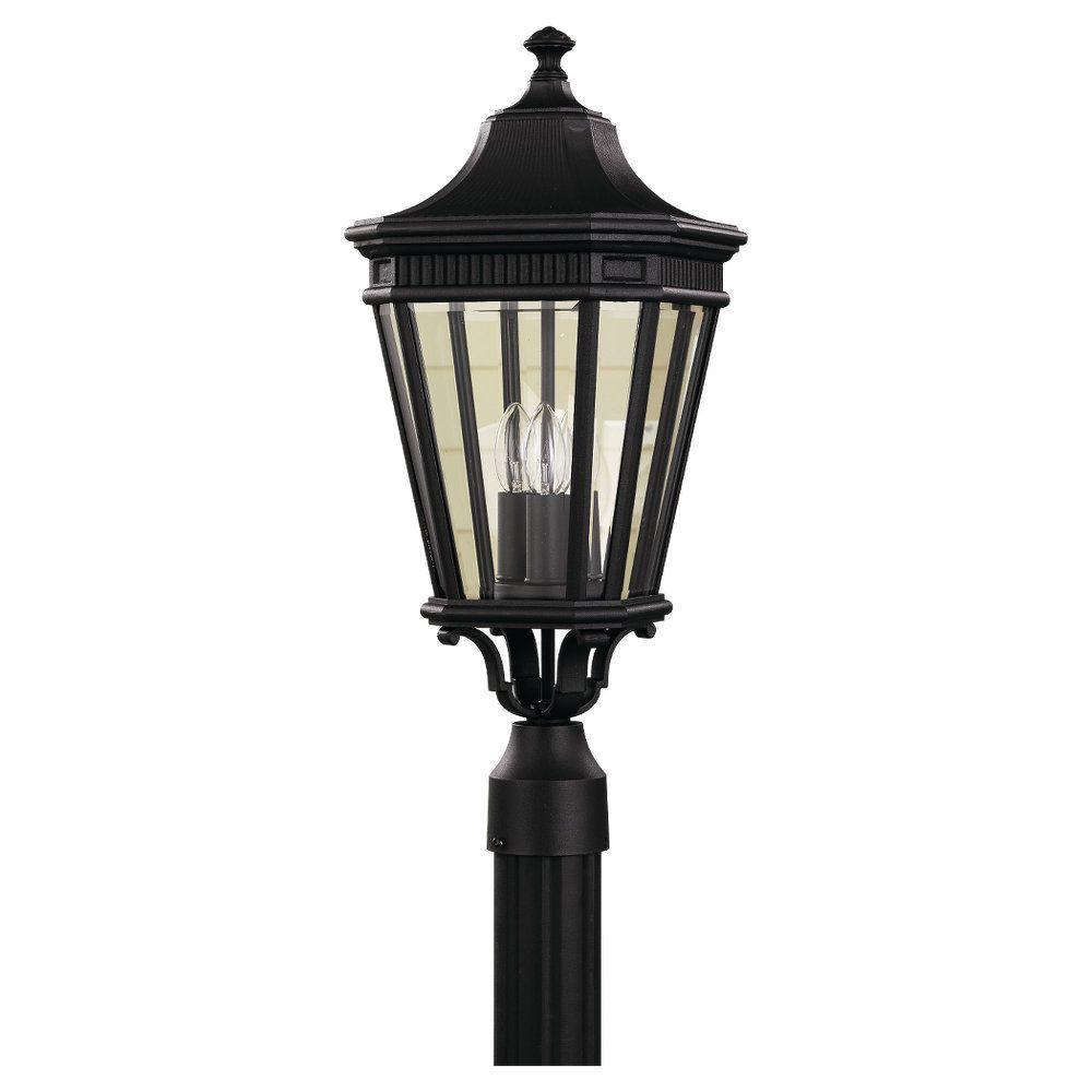 Cotswold Lane 3-Light Black Outdoor Post