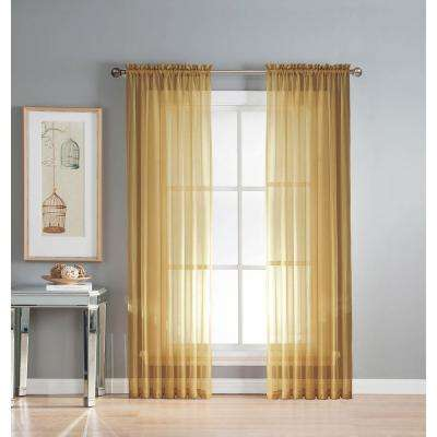 Sheer Diamond Sheer Voile Extra Wide 84 in. L Rod Pocket Curtain Panel Pair, Gold (Set of 2)