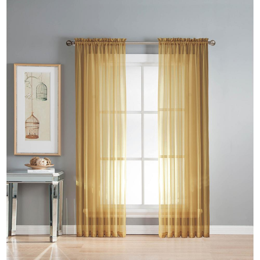 Window Elements Sheer Diamond Sheer Voile Extra Wide 84 in. L Rod Pocket Curtain Panel Pair, Gold (Set of 2)