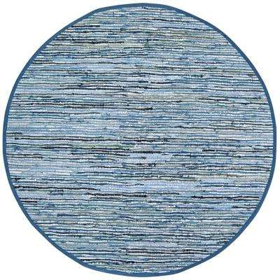 Leather Matador Blue 3 ft. x 3 ft. Round Area Rug