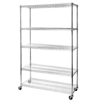 48 in W x 18 in D x 72 in H UltraDurable Commercial-Grade 5-Tier Steel Wire Shelving with Wheels