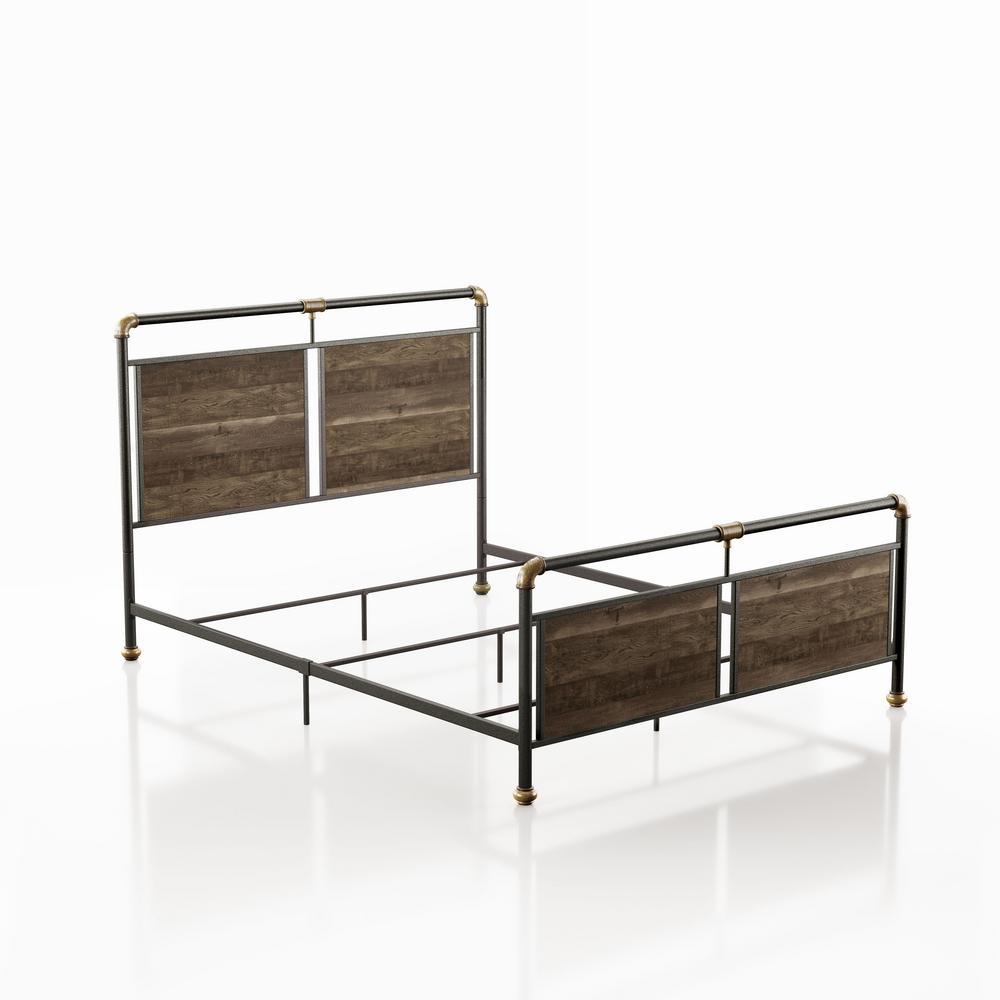 Floi Reclaimed Oak Queen Panel Bed