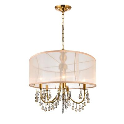 Halo 5-Light French Gold Chandelier with Gold shade