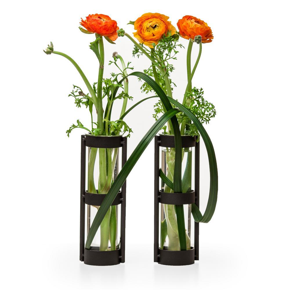 Urbanne Rustic Black Metal Glass Cylinder Decorative Vases (Set of 2)