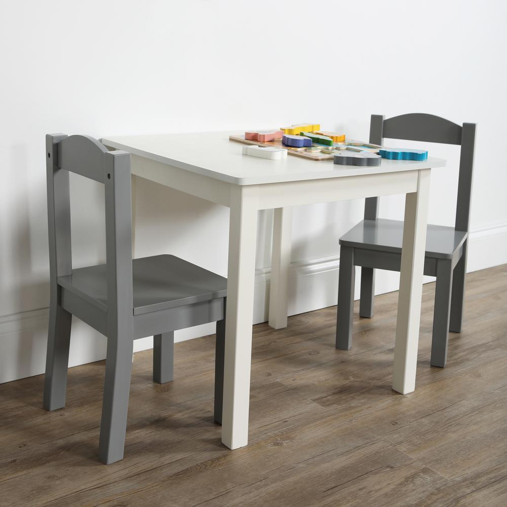 tot tutors inspire 3 piece white grey kids square table and chair set tc787 the home depot. Black Bedroom Furniture Sets. Home Design Ideas