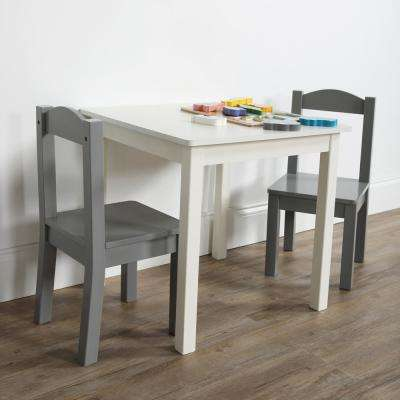 Inspire 3-Piece White/Grey Kids Square Table and Chair Set