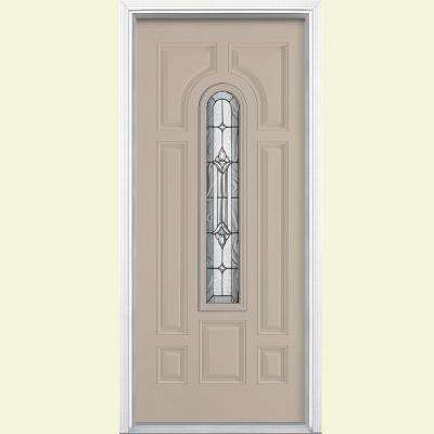 36 in. x 80 in. Providence Center Arch Canyon View Right-Hand Painted Steel Prehung Front Door w/ Brickmold