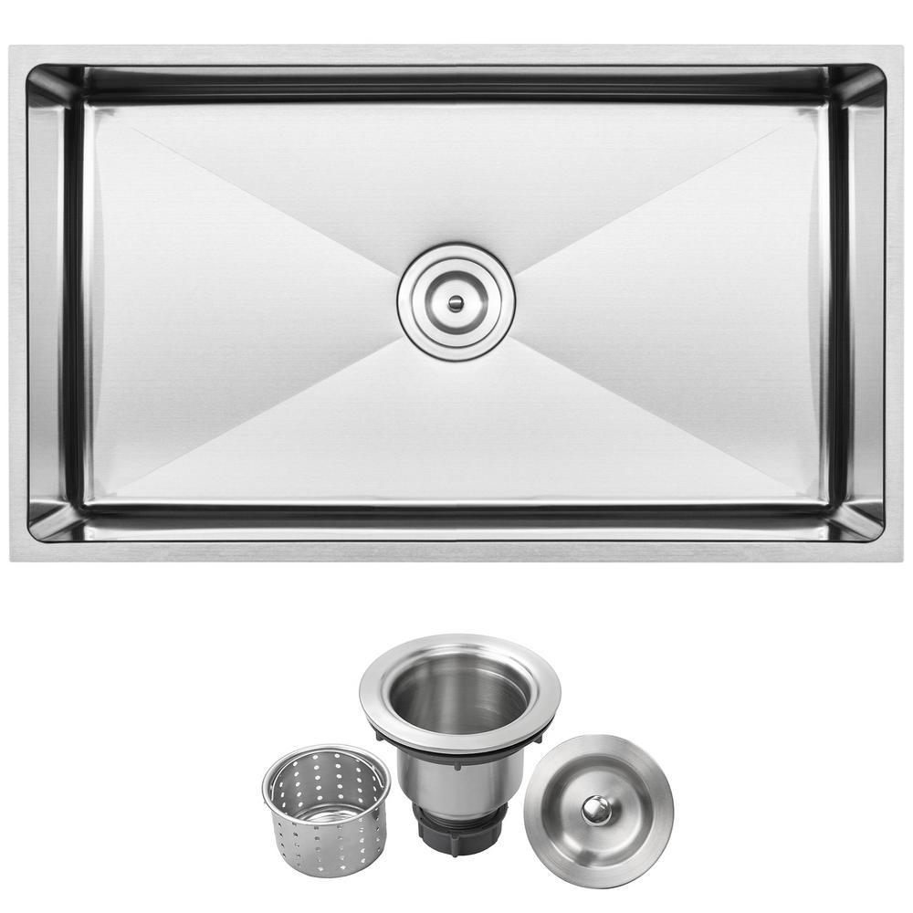 Pacific Undermount 16-Gauge Stainless Steel 31.25 in. Single Basin Kitchen Sink with Basket Strainer