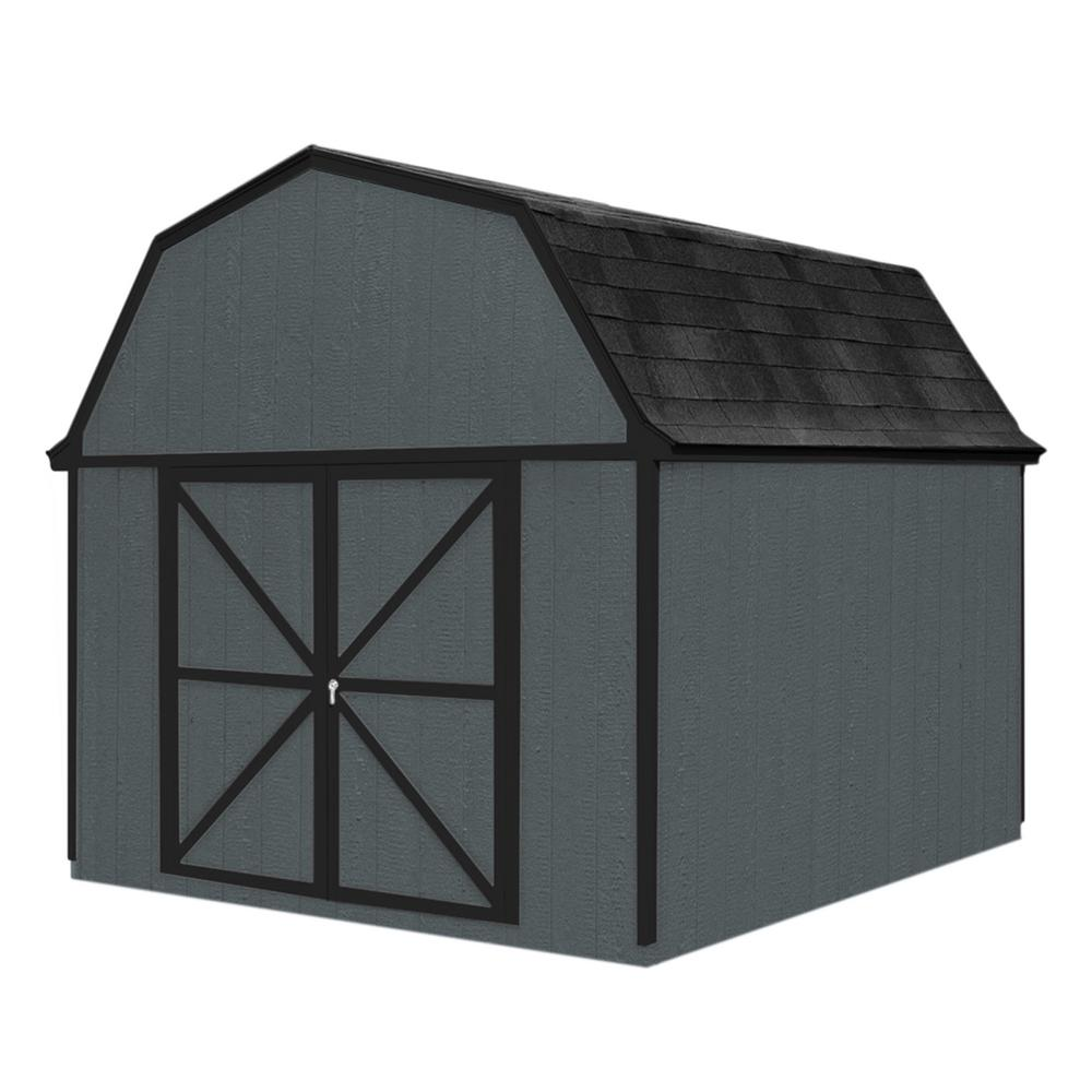 Handy Home Products Berkley 10 ft. x 10 ft. Wood Storage Building Kit with Floor