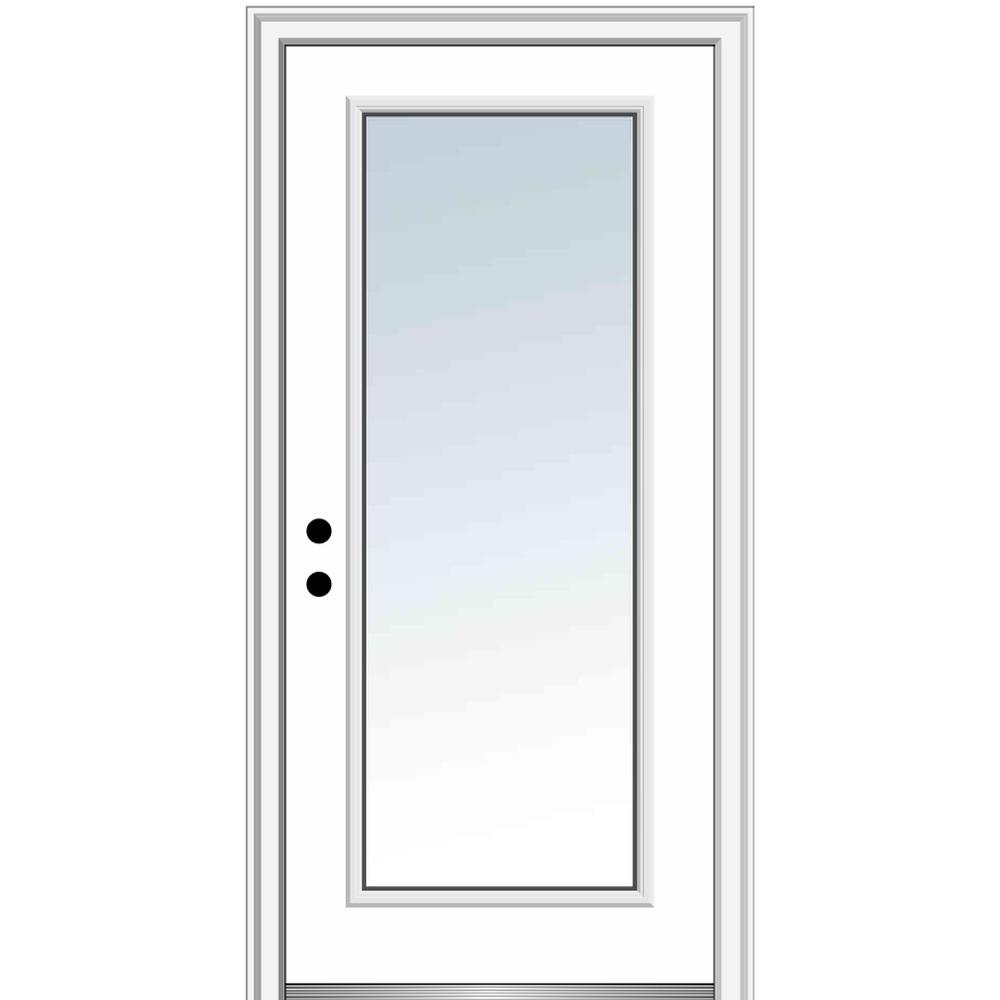 MMI Door 32 in. x 80 in. Classic Right-Hand Inswing Full-Lite Clear Glass Primed Steel Prehung Front Door on 6-9/16 in. Frame
