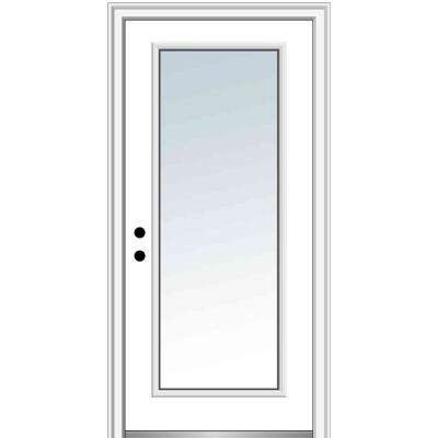 36 in. x 80 in. Right-Hand Inswing Full Lite Clear Classic Primed Fiberglass Smooth Prehung Front Door