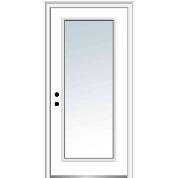 36 in. x 80 in. Right-Hand Inswing Full Lite Clear Classic Primed Steel Prehung Front Door