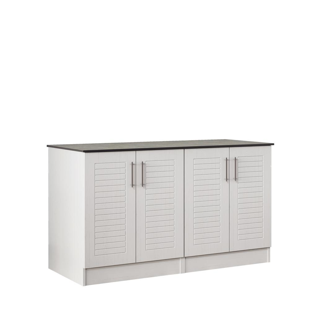 WeatherStrong Key West 59.5 in. Outdoor Cabinets with Countertop 4 Full Height Doors in White