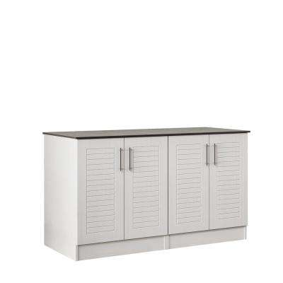 Key West 59.5 in. Outdoor Cabinets with Countertop 4 Full Height Doors in White