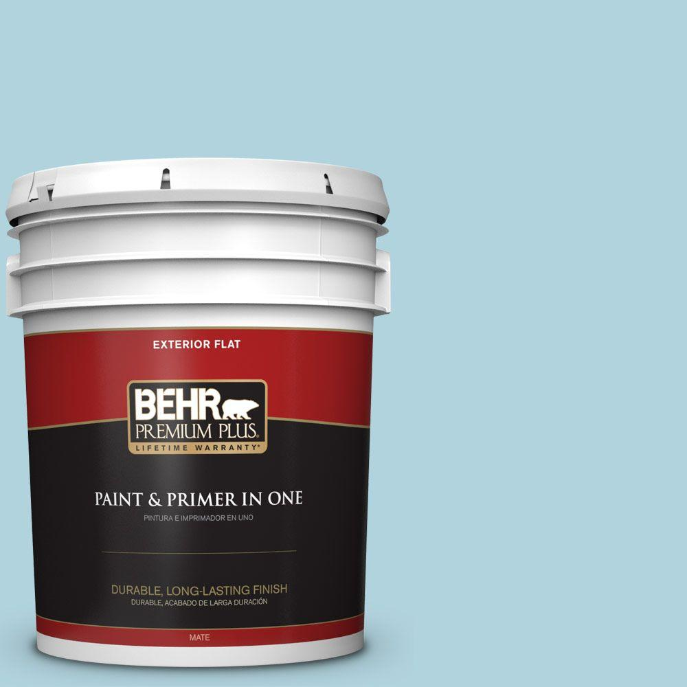 BEHR Premium Plus 5-gal. #520E-2 Tropical Breeze Flat Exterior Paint