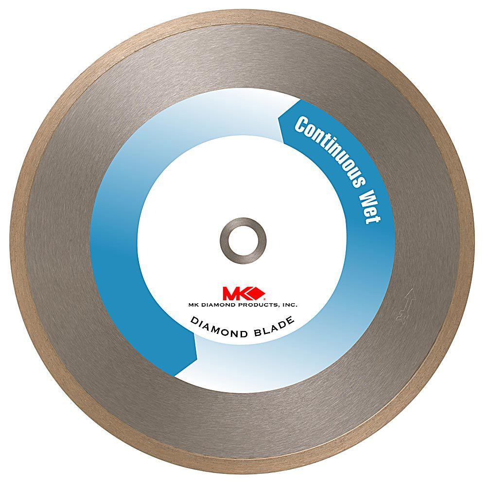 Mk Diamond 10 In Wet Cutting Supreme Grade Continuous Rim Diamond Blade For Tile And Marble Mk 215 10 The Home Depot