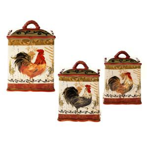 Tuscan Rooster Red Hand painted Earthenware Canister Set (3-Piece) by
