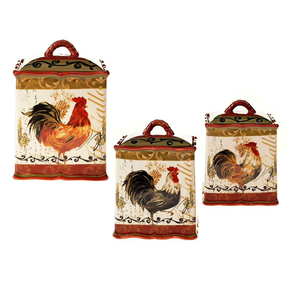 Tuscan Rooster Red Hand painted Earthenware Canister Set (3-Piece)