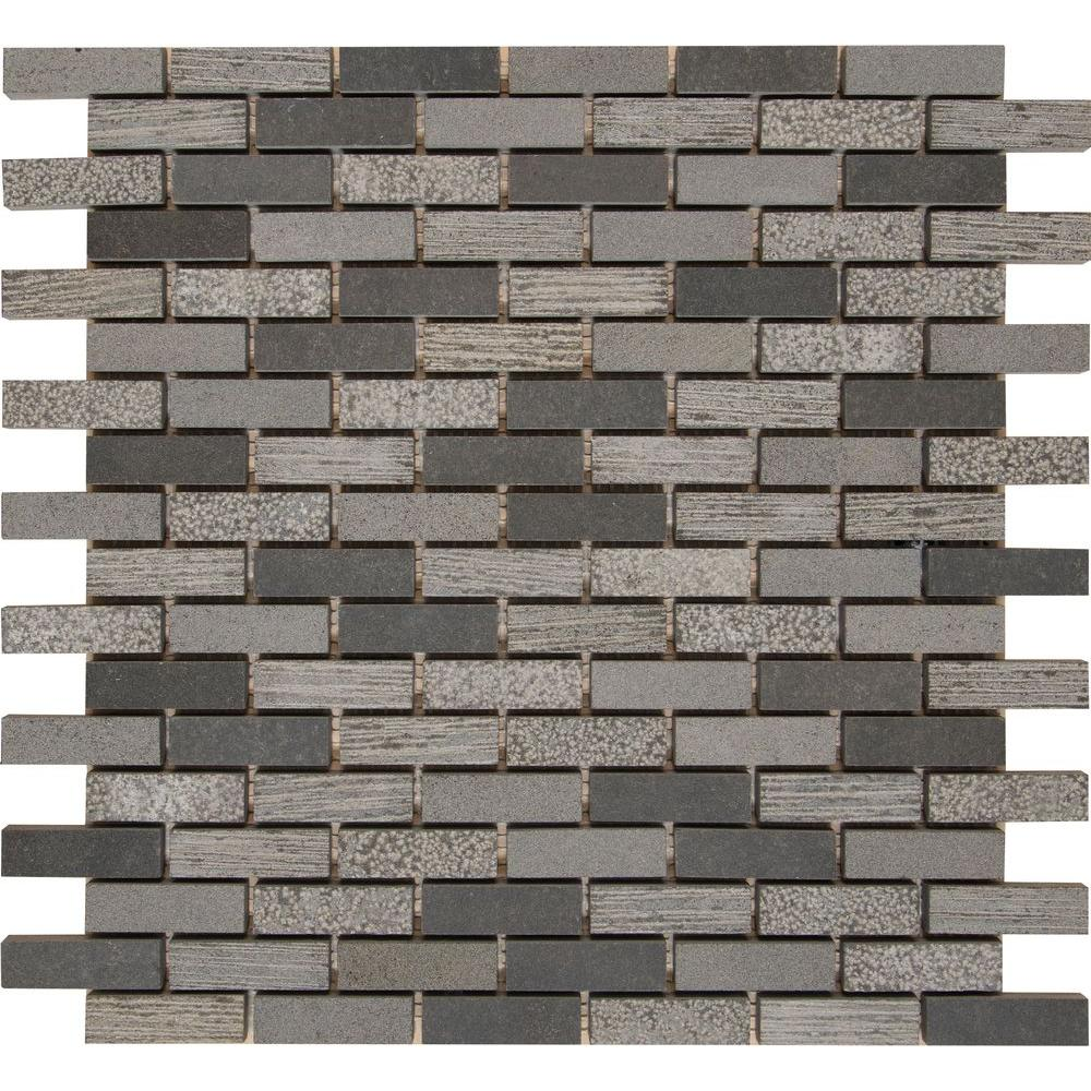 MS International Shale 12 in. x 12 in. x 10 mm Natural Basalt Mesh-Mounted Mosaic Floor and Wall Tile
