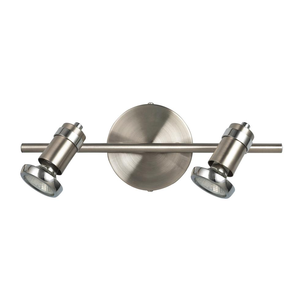 Shay 14 in. 2-Light Brushed Pewter and Chrome Track Lighting Fixture