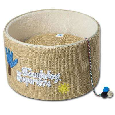 Yellow Claw-ver Nest Rounded Scratching Cat Bed w/ Teaser Toy