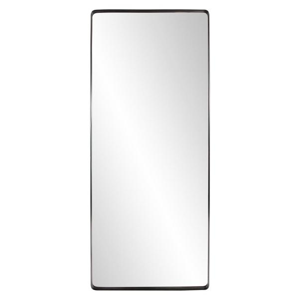 Oversized Rectangle Brushed Black Hooks Modern Mirror (72 in. H x 30 in. W)