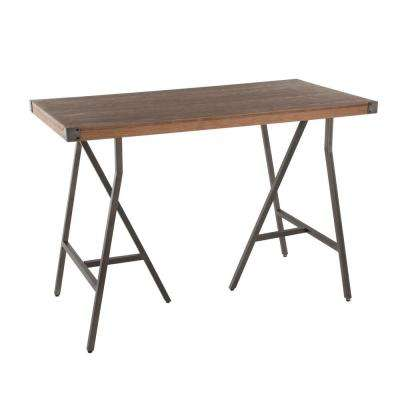 Trestle Antique and Brown Counter Height Dining Table
