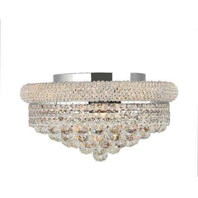 Empire Collection 8 Light Chrome And Clear Crystal Flushmount