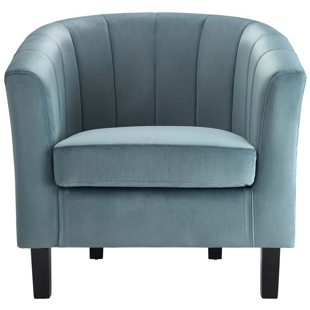 Prospect Light Blue Channel Tufted Upholstered Velvet Armchair