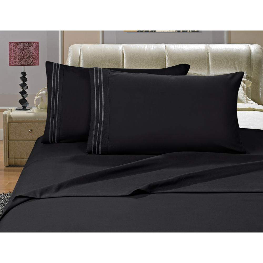 1500 Series 4-Piece Black Triple Marrow Embroidered Pillowcases Microfiber Full