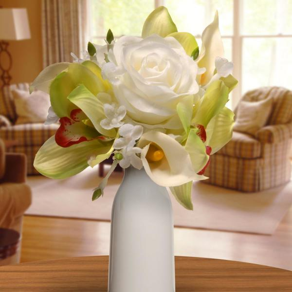 National Tree Company 10.25 in. White Rose and Calla Lily Bouquet