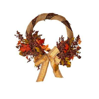 18 in. Fall Maple Leaves Wreath with Bowknot