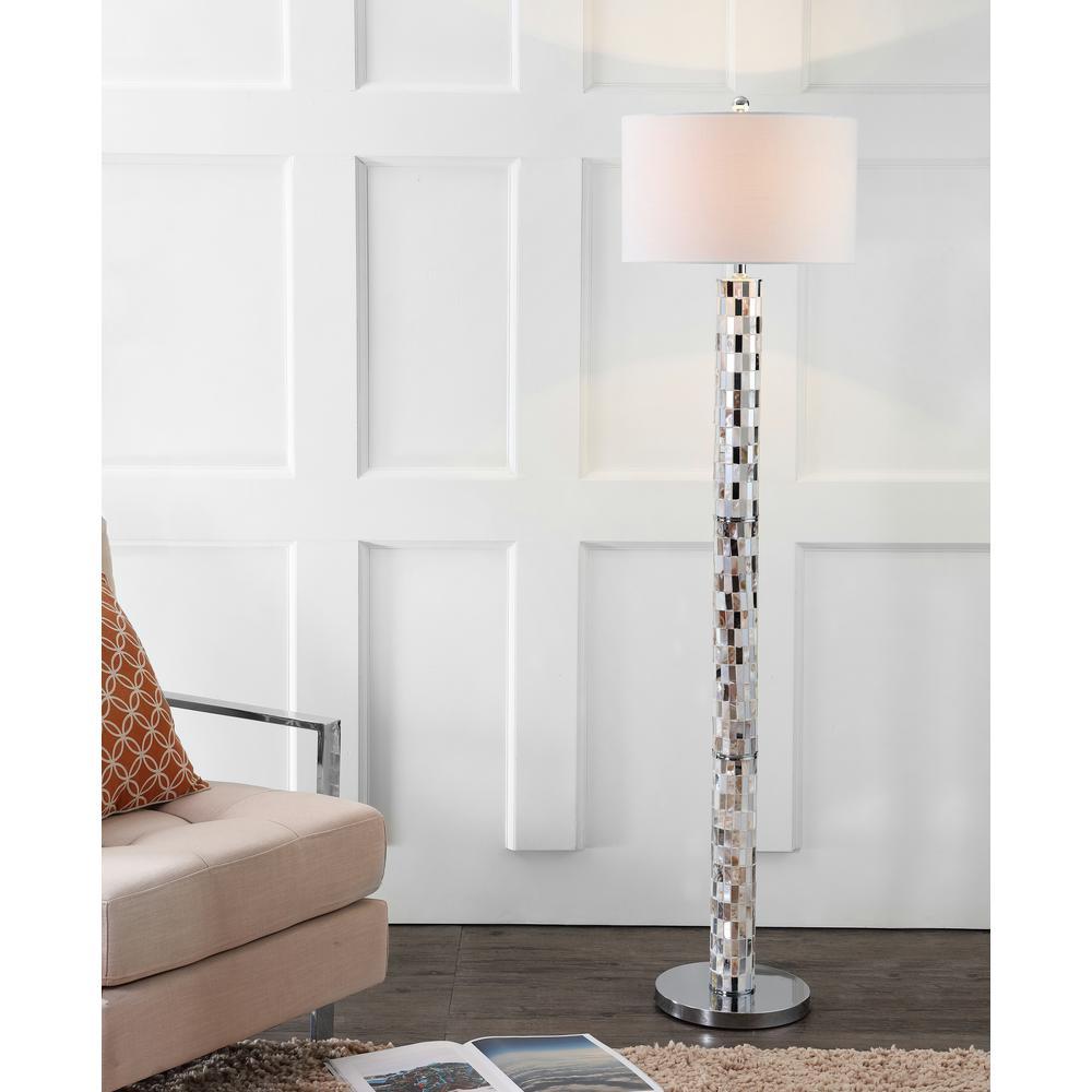 Liam Cream 63.5 in. Seashell Mosaic Floor Lamp
