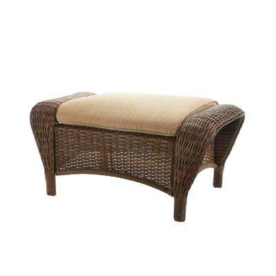 Beacon Park Wicker Outdoor Ottoman with Toffee Cushions