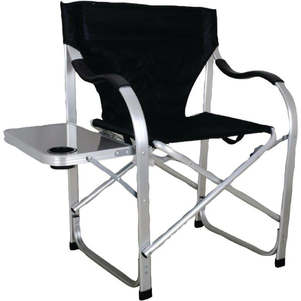 Stylish Camping Heavy Duty Folding Camping Black Director Chair with Side Table