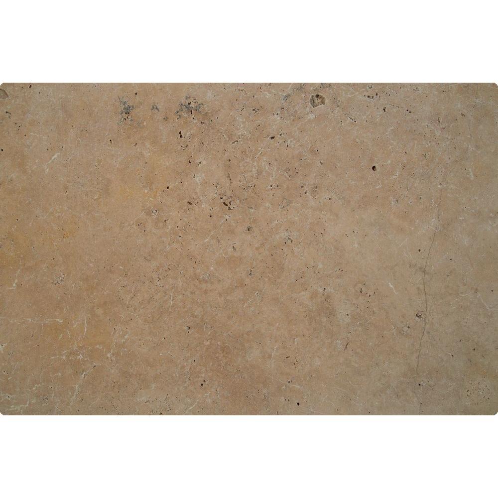 Mediterranean Walnut 16 in. x 24 in. Tumbled Travertine Paver Tile