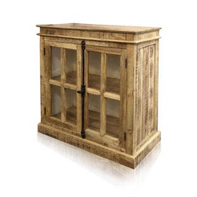 2-Door Brown Cabinet with Wrought Iron Hardware and Glass Panels