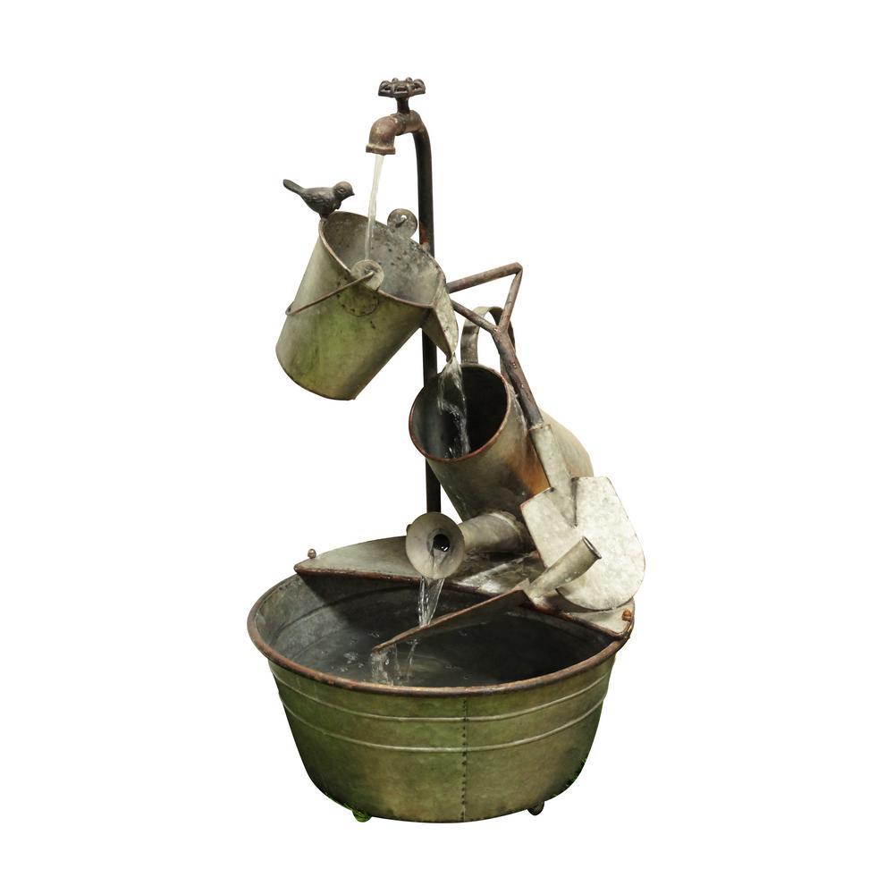 28 in. Metal Tiered Garden Tools Fountain