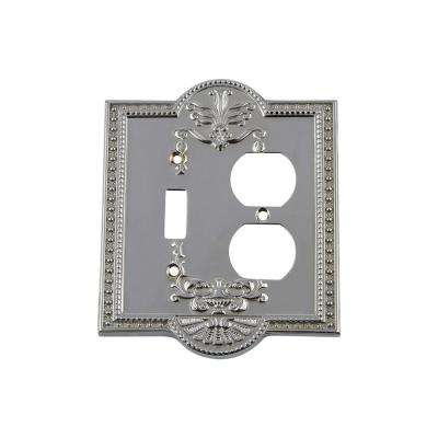 Meadows Switch Plate with Toggle and Outlet in Bright Chrome