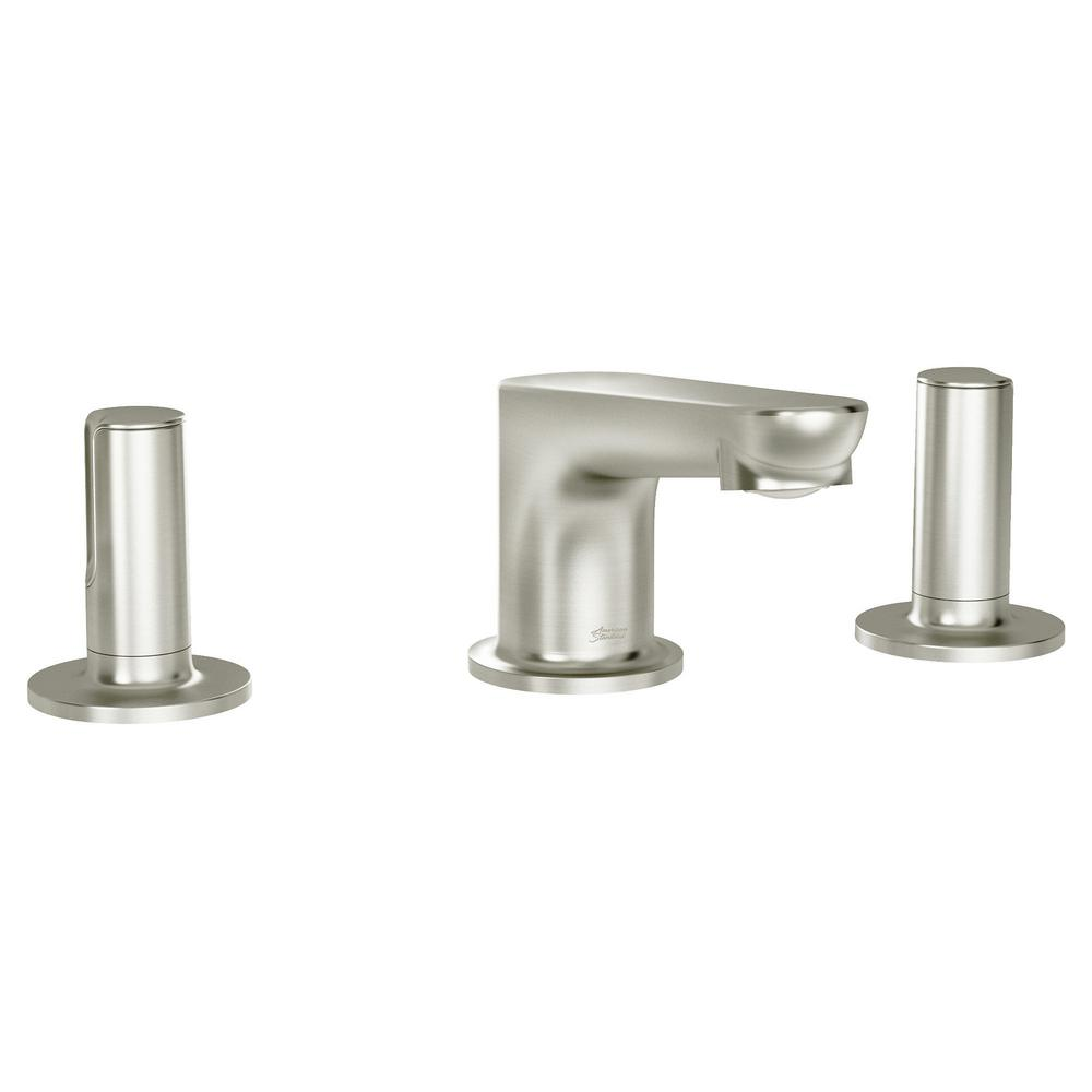 AMERICAN STANDARD Studio S 8 in. Widespread 2-Handle Low Spout Bathroom Faucet with Knob Handles in Brushed Nickel