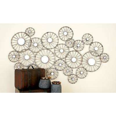 Silver-Finished Iron Abstract Bike Wheel Mirror Wall Decor